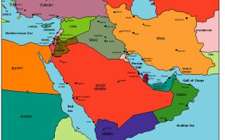 Harta politica - Orientul Mijlociu