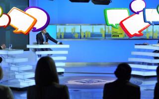 dezbatere Ponta Iohannis cu speech bubbles