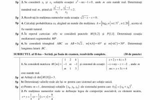 Bacalaureat Matematica (profil mate-info)