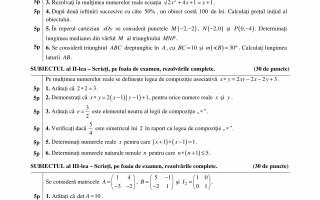 Bacalaureat Matematica (profil pedagogic)