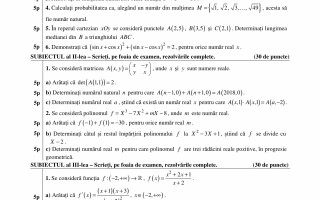 Bacalaureat Matematica (profil tehnologic)