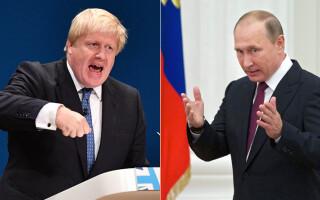 Boris Johnson, ministru de externe britanic, si Vladimir Putin