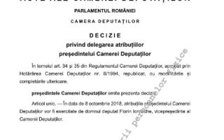 Liviu Dragnea și-a delegat atribuțiile de președinte al Camerei Deputaților lui Florin Iordache