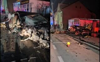 Bolid de lux rupt în două într-un accident teribil în Bistrița-Năsăud. Cine se afla la volan