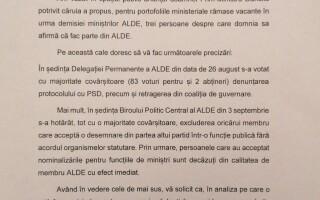 Tăriceanu, scrisoare către Iohannis. Ce i-a cerut liderul ALDE președintelui
