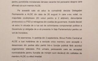 Călin Popescu Tăriceanu, scrisoare către Viorica Dăncilă