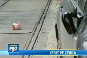 Batran spulberat pe o trecere de pietoni din Bucuresti.VIDEO