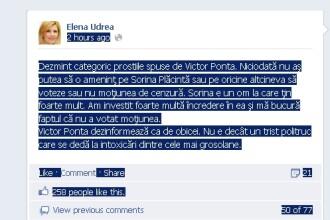 Udrea, pe Facebook: Nu am amenintat-o pe Sorina Placinta