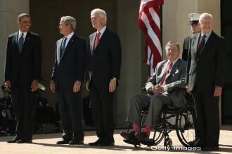 Barack Obama, alaturi de patru fosti presedinti americani, intr-o fotografie rara