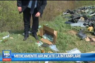 Sute de kg de medicamente, seringi si fase medicale, descoperite pe malul unui rau din judetul Alba