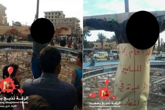 Executati si apoi crucificati de luptatori ai opozitiei siriene. Atentie, imagini care va pot afecta emotional