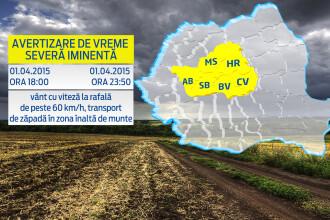 Romania incepe luna aprilie cu un COD GALBEN de vant puternic. Zonele in care rafalele vor ajunge si la 90 km/h