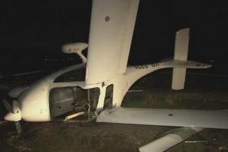 Un avion de mici dimensiuni a aterizat fortat in Bacau. Pilotul spune ca a fost daramat de vant