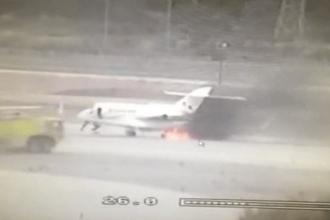 Incident infricosator pe aeroportul israelian Ben Gurion. Un avion a luat foc chiar inainte sa decoleze