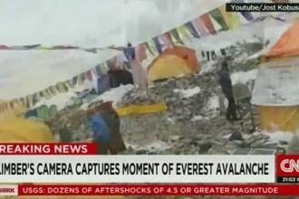MOMENTUL in care avalansa loveste tabara din Everest. Un alpinist din Germania a filmat intreaga scena. VIDEO