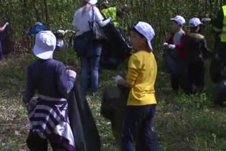 Padurea Baneasa a fost curatata de elevii din clasele primare. Planul primariei, blocat de gunoaie
