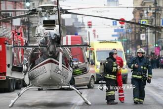 Imagini cu interventia fortelor de ordine, dupa explozia din Sankt Petersburg. La fata locului a fost trimis si un elicopter