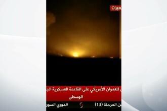 Momentul in care rachetele americanilor bombardeaza baza aeriana din Siria. Imaginile ar fi fost filmate de un martor