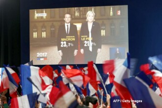 Alegeri prezidentiale Franta, portretele lui Emmanuel Macron si Marine Le Pen.