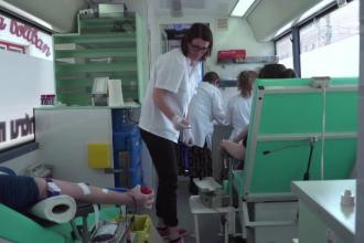 În Sfântu Gheorghe, oamenii au donat sânge într-un autobuz
