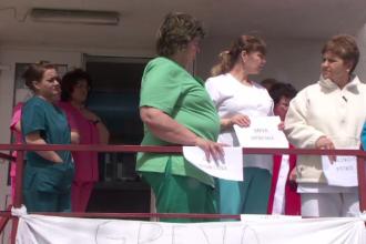 Protest la Spitalul de Boli Infecţioase din Galaţi.