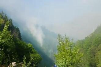 Incendiu de vegetație masiv în Argeș. Turiști evacuați și intervenții cu elicopterul