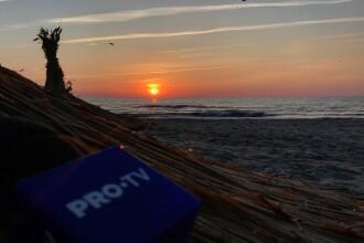Distracție de la 9 dimineața în Mamaia. Răsăritul soarelui, surprins de pe plajă. FOTO