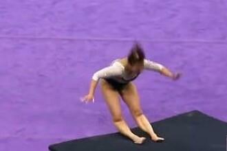 Momentul în care o gimnastă îşi rupe ambele picioare în timpul exerciţiului la sol. FOTO & VIDEO