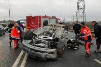 Tânăr de 21 ani, în stare gravă după ce s-a răsturnat cu mașina din cauza vitezei