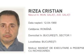 Fotografia unui fost parlamentar, pe site-ul Poliției Române. De ce este căutat Rizea