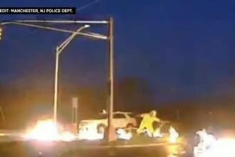 Muncitor la un pas de moarte după ce un cablu rupt de furtună a luat foc