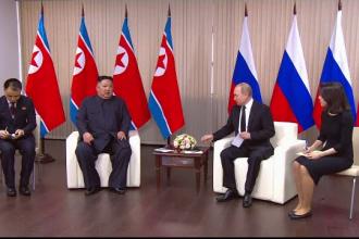 Filmul zilei în care Vladimir Putin și Kim Jong-un s-au întâlnit pentru prima dată