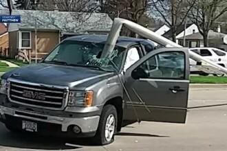 A fost la un pas de moarte după ce un șofer a rupt un stâlp și a ajuns în parbrizul ei