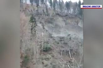 O nouă alunecare de teren la Azuga. Sinistrații, mutați în containere