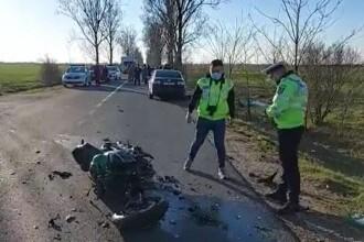 Accident grav în Dâmbovița. Un motociclist a fost preluat cu elicopterul în stare critică