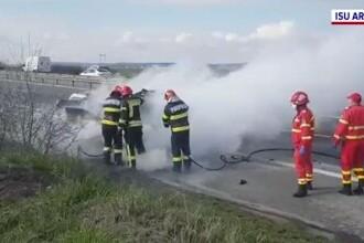 O mașină a luat foc în mers pe autostrada A1. Cum s-a întâmplat