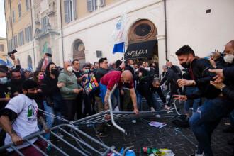 Proteste violente la Roma, din cauza restricțiilor anti-COVID impuse de autorități