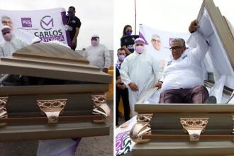 Un candidat la alegerile regionale din Mexic şi-a lansat campania electorală dintr-un sicriu