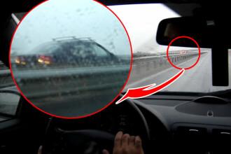 Singur impotriva tuturor! Pe contrasens, pe Autostrada Bucuresti-Pitesti!