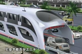 Autobuzul viitorului, conceput de chinezi! Trec masinile pe sub el