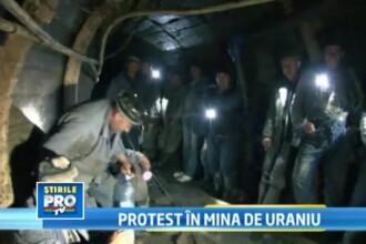 Protest iradiat. 300 de barbati,blocati in singura mina de uraniu din Romania. Cauza: salariile mici