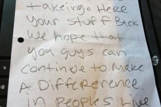 Cand si-au dat seama ce au furat, li s-a facut mila: scrisoarea unor hoti a ajuns virala