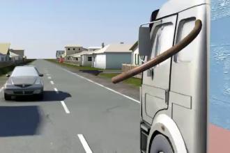 ANIMATIE GRAFICA. O bara metalica, cazuta dintr-un camion, i-a strapuns craniul unui sofer, in Bacau