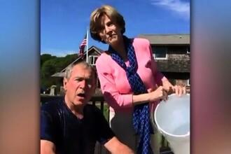Provocarea galetii cu apa si gheata a ajuns si la fostul presedinte George W. Bush. Ce s-a intamplat. VIDEO