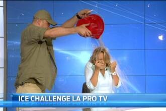 Andreea Esca si CEO-ul ProTV, Aleksandras Cesnavicius, s-au alaturat campaniei Ice Bucket Challenge. Ce NU s-a vazut la TV