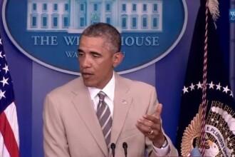 Obama, ridiculizat pe Twitter pentru costumul purtat la conferinta in care a vorbit despre