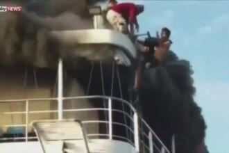 Scene de groaza pe un feribot din Filipine. Ambarcatiunea a luat foc inainte ca toti cei 550 de pasageri sa plece de pe vas