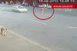 Accident filmat in Ploiesti. O fetita de 8 ani, ranita grav dupa ce a fost lovita de o masina, in timp ce traversa strada