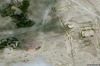 Imagini din satelit confirma distrugerea unui templu antic din orasul sirian istoric Palmira. FOTO