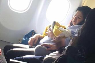 O femeie a nascut in avion, cu 3 luni mai devreme. Ce cadou a primit bebelusul din partea companiei aeriene. FOTO